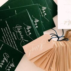 Lamplighter London - Modern Calligraphy - Wedding Menus and Place cards