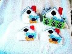 Coaster Set Blue Bird House by DestinysTreasures on Etsy, $8.00