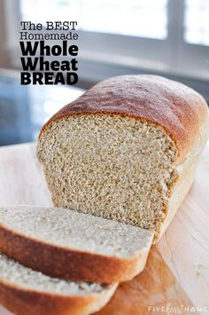 The Very BEST Whole Wheat Bread is the softest, moistest, fluffiest, freshest-staying, homemade, 100% whole wheat bread you've ever tried! | FiveHeartHome.com #wholewheatbread #homemadebread #wheatbread Sourdough Whole Wheat Bread Recipe, Whole Wheat Sandwich Bread Recipe, Best Whole Wheat Bread, Whole Wheat Muffins, Sandwich Bread Recipes, Bread Machine Recipes, Easy Bread Recipes, Banana Bread Recipes, Yummy Recipes