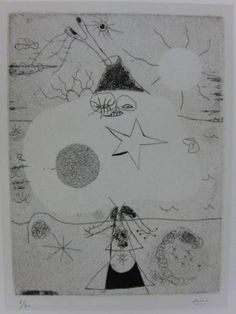 J・ミロ、女と火山、希少画集より、新品額・額装付_画像1