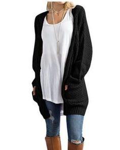 34f72c2c72 Cardigan Female Women Cardigan Autumn Sweater Long Sleeve Knitted Outwear  Jacket Female Sweater Pocket Knitted Cardigans NS8637