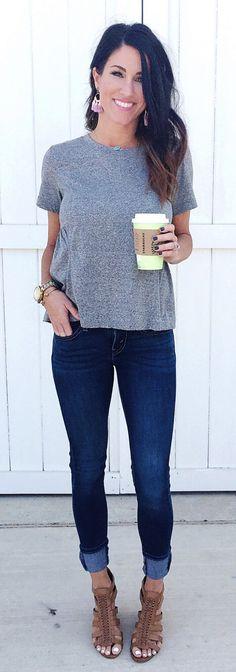 Grey Top & Navy Skinny Jeans & Brown Open Toe Sandals