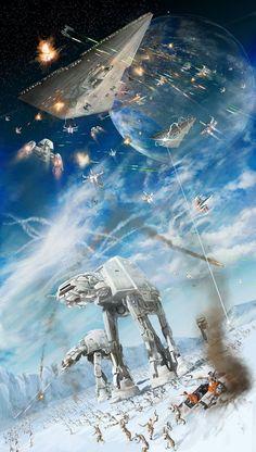 Battle on Hoth Star Wars Art Star Trek, Star Wars Film, Star Wars Ships, Star Wars Poster, Star Wars Art, Carte Star Wars, Images Star Wars, Star Wars Concept Art, Lightsaber