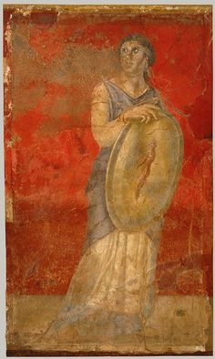 Late Republican Roman Fresco of a Standing woman holding a shield: From Room H of the Villa of P. Fannius Synistor at Boscoreale, c. 40 - 30 BC