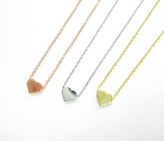 Small Heart Shaped Necklace in Gold / Silver / Rose Gold by NUIMIE, $10.00