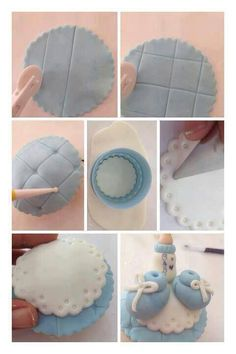Cupcakes Decoration For Baby Shower Cake Tutorial 34 Ideas Baby Cupcake, Baby Shower Cupcakes, Shower Cakes, Shower Baby, Fondant Cupcakes, Fondant Toppers, Fondant Face Tutorial, Cake Tutorial, Flower Tutorial