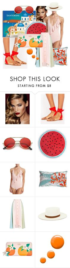 """Orange Santorini 🍊"" by olga-highball ❤ liked on Polyvore featuring Charlotte Tilbury, Abercrombie & Fitch, ZeroUV, Dorothy Perkins, Marysia Swim, Trans-Ocean, Peter Pilotto, Janessa Leone, Kate Spade and Topshop"