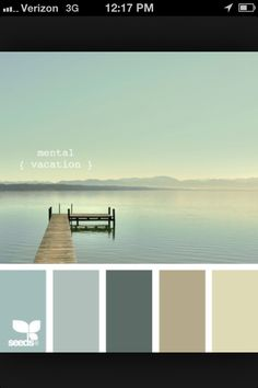 I would love to create this serene feel and using this color pallate I hope to acheive it.