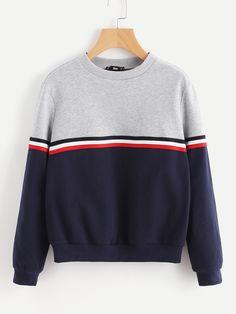 71512f4ec3 Striped Woven Tape Detail Two Tone Sweatshirt -SheIn(Sheinside) Sweatshirts  Online, Hoodies