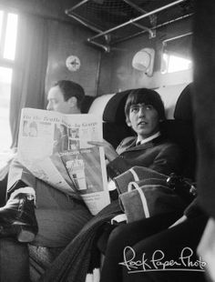 """In a train on the set of """"A Hard Day's Night"""", London vicinity, 1964."""
