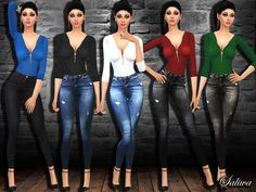 High waist skinny jeans and colorful blouses for ladies. Totally design by Saliwa. Enjoy!  Found in TSR Category 'Sims 4 Female Everyday'