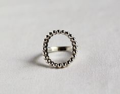 925 Sterling Silver Open Circle Dot Ring, Geometry ring