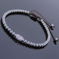 Hematite Sterling Silver Adjustable Braided Bracelet Mens Women DIY-KAREN 679 #Handmade #Beaded