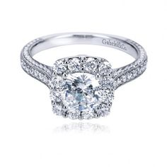 Gabriel & Co. Victorian Halo Engagement Ring available in Pink and White gold. From $2,601
