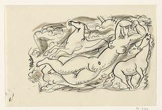 Leo Gestel   Ontwerp voor een vignet: naakte vrouw en twee paard met de zee op de achtergrond, Leo Gestel, 1891 - 1941   Ontwerp voor een prent.