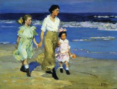 Along the Shore, Edward Potthast, Private collection, oil on panel