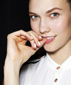Karlie Kloss' bright white summery nail polish