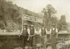 Railway workers at Monkton Combe Station, near Bath, c.1910?