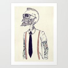 The+Gentleman+becomes+a+Hipster++Art+Print+by+Mike+Koubou+-+$18.00