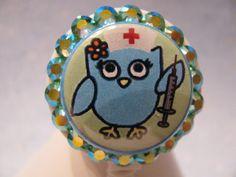 Owl Nurse Badge Holder,  Retractable Badge Holder, ID Card Holder, using Swarovski Elements by sparklinghope on Etsy https://www.etsy.com/listing/257081696/owl-nurse-badge-holder-retractable-badge