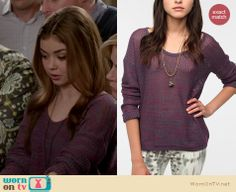 Haley's purple knit sweater on Modern Family. Outfit details: http://wornontv.net/14418/