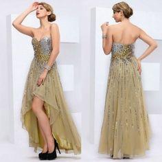 Strapless Sequins Handmade High-Low Prom Evening Dresses