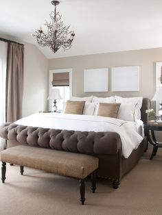 Bedroom Master Bedroom. Perfect mix of masculine and feminine. The white boards above the bed need to be artwork though