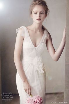 White by Vera Wang                                           V Neck Satin Corset Gown with Grosgrain Sash