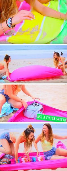 Block Sand with a Fitted Sheet | 22 DIY Beach Hacks for Teens that will change your life!