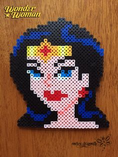 Wonder Woman perler beads by RockerDragonfly on DeviantArt Fuse Bead Patterns, Perler Patterns, Loom Patterns, Beading Patterns, Dc Comics, Peler Beads, Cross Stitch Boards, Fusion Beads, Wonder Woman