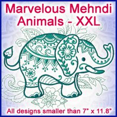 A Marvelous Mehndi Animals Design Pack - XXL design (X11796) from www.Emblibrary.com