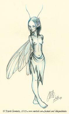 Sketch of a fairy (II).  © Marta Sarmiento, 2015.  www.martash.com www.facebook.com/dibujandohadas