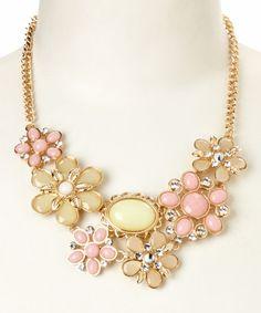 Look at this #zulilyfind! Pink Floral June Bib Necklace #zulilyfinds