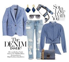 """""""The Denim Issue"""" by chrisger ❤ liked on Polyvore featuring J.Crew, Tom Ford, MSGM, Jimmy Choo and Roland Mouret"""
