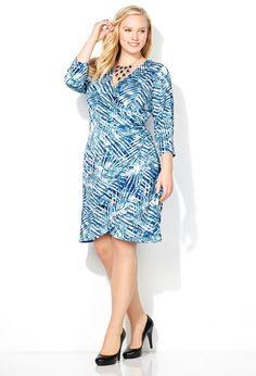 Blue Leaf Wrap Dress-Plus Size Wrap Dress-Avenue Plus Size Dresses, Plus Size Outfits, Dresses For Work, Basic Style, My Style, Daisy, Avenue Dresses, Blue Leaves, Large Women