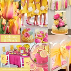 Yellow and Pink is a vibrant combination that is perfect for spring and summer weddings. The tulip in the top left corner shows that Mother Nature knew what she was doing in creating the luscious yellow and pink tulip!