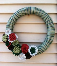 Christmas Wreath  Green and Brown Yarn Wreath by stringnthings, $40.00