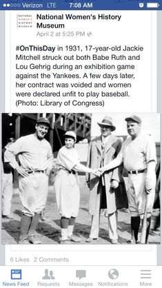"naamahdarling:  urulokid:  facebooksexism:  thebluelip-blondie:  skeptikhaleesi:  brownglucose:  nextyearsgirl:  The absence of women in history is man made.  How petty  just look at babe ruth's face tho so confused so lost i love it  pure hater shit  Jackie Mitchell…a bad ass lady I had never heard of.   From her Wikipedia page: ""Seventeen-year-old Jackie Mitchell, brought in to pitch in the first inning after the starting pitcher had given up a double and a single, faced Babe Ruth. After ..."