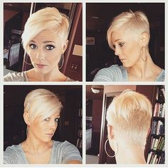 Find the latest pixie hairstyles from fine short pixie to dark or messy pixie cut, here are 50 Pixie Haircuts 2015 - 2016 for inspiration. Pixie Haircuts 2015, Pixie Hairstyles, Cool Hairstyles, Woman Hairstyles, Super Short Hair, Short Hair Cuts, Short Hair Styles, Pixie Cuts, Shaved Pixie Cut