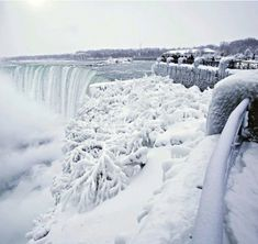 The rushing waters of Niagara Falls were partially frozen over amid a vicious winter storm that blanketed parts of the U. and Canada in snow.