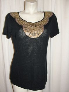 BANANA REPUBLIC Black Linen Cotton Blend Top Embroidery Sequin Embellishment L #BananaRepublic #KnitTop #DressUporDown