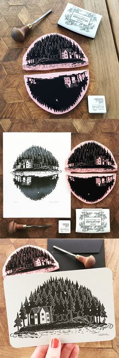 Beautiful cottage on an island with a reflection in the water - two-part hand-carved stamp Linocut Prints, Art Prints, Block Prints, Lino Art, Landscape Tattoo, Landscape Art, Landscape Architecture, Stamp Carving, Handmade Stamps