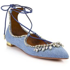 Aquazzura Christy Crystal & Denim Lace-Up Flats ($1,050) ❤ liked on Polyvore featuring shoes, flats, apparel & accessories, light blue, denim flats, ankle strap shoes, flat pumps, light blue flats and ankle strap flats
