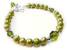 Freshwater Pearl and Swarovski Crystal Bracelet - Olive