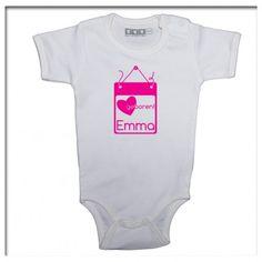 romper bijpassend bij geboortesticker geboortebord Emma