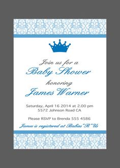 BABY BOY Baby Shower Invitation, baby shower invite - Printable PDF File - Little Prince - Custom color, size, text on Etsy, $15.00