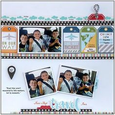 """Bella Blvd """"Let's Go"""" . """"Non-Stop Travel Fun"""" Layout ~ The ScrapRoom Flavors of the Month"""