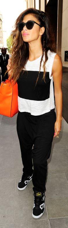 Who made Nicole Scherzinger's white stripe tank and sneakers? Shirt – Nation Ltd.  Shoes – Nike