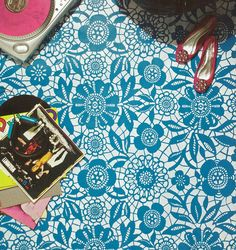 Skylar Lace Floral Stencil on Floor as featured in DIY magazine.