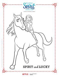 Spirit Riding Free And Lucky Coloring Page